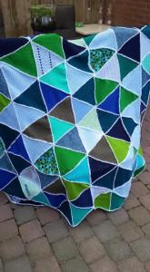 TJ deken en kussen 02 blauw/groen